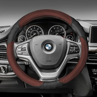 FH GroupBrown Black Perforated Genuine Leather Steering Wheel Cover