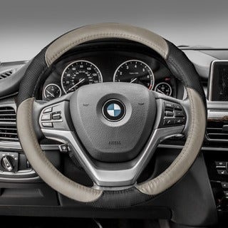 FH GroupBeige Black Perforated Genuine Leather Steering Wheel Cover
