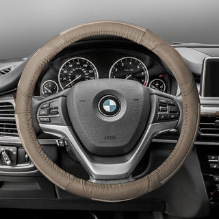 FH Group Beige Deluxe Full Grain Authentic Leather Steering Wheel Cover