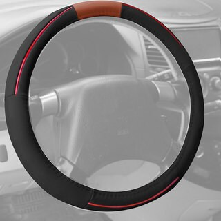 FH GroupRed Black Supreme Top Grain Authentic Leather Steering Wheel Cover