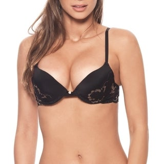 Prestige Biatta Victoria Black Stretch Satin Push Up Bra