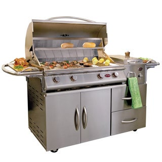 Cal Flame Gourmet Series 4-Burner Gas Grill Cart with Side Burner and Double Drawers