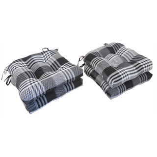 Essentials Exeter Woven Plaid Chair Pads (Set of 4)