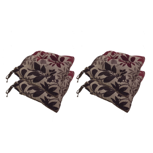 Bristol Chenille Leaf Jacquard Reversible Chair Pads with Tie Backs (Set of 4)