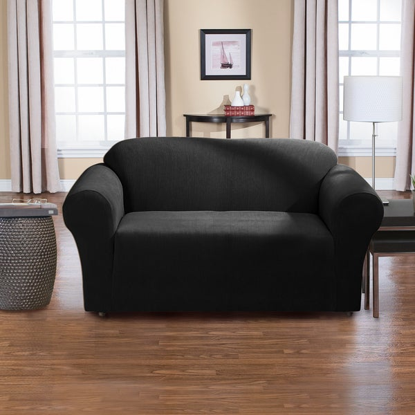 Dimples 1-piece Stretch Loveseat Slipcover