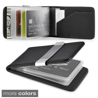 Zodaca Genuine 100% Leather Money Clip Wallet with Extra Business Card/ Credit Card Holder