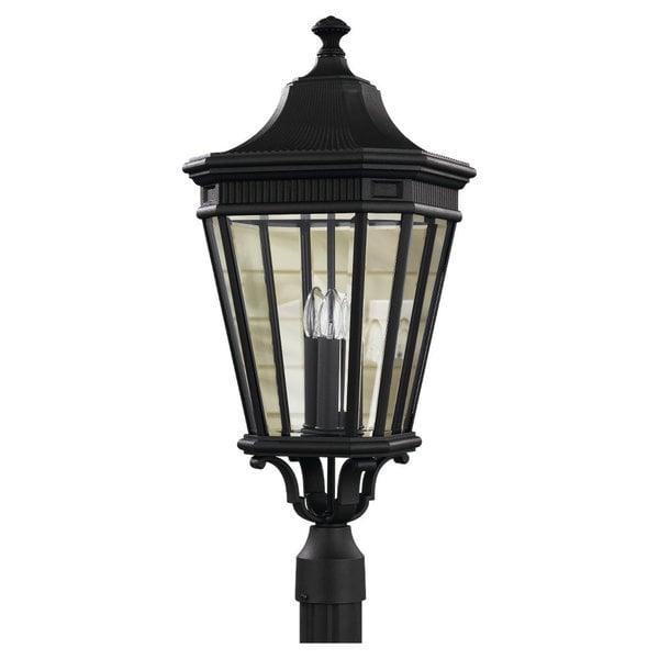 3 -light Cotswold Lane Post in Black