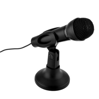INSTEN Black 3.5mm Plug Studio Speech Microphone With Stand Mount For PC Laptop Desktop Notebook Skype