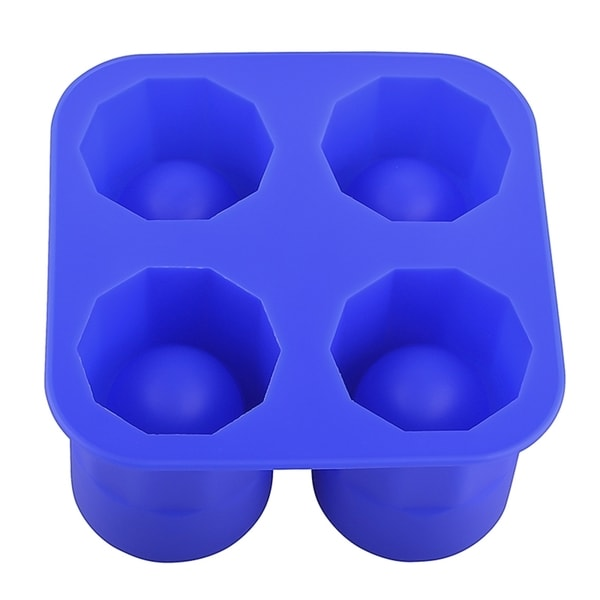 INSTEN Dark Blue Food-grade Silicone 4X Cup Shape Ice Cube Tray Mold