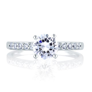 A JAFFE 18k White Gold 2/5ct TDW Diamond Semi-mount Engagement Ring Set (G-H, VS1-VS2)