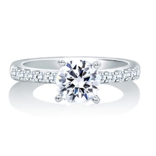 A JAFFE 18k White Gold 1/5ct TDW Diamond Solitaire Engagement Ring (G-H, VS1-VS2)