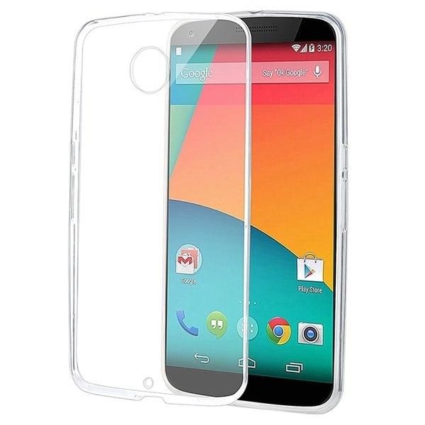 INSTEN Clear TPU Rubber Candy Skin Slim Phone Case Cover For Motorola Google Nexus 6