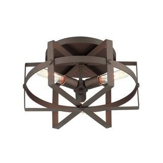 Varaluz Reel 3-light Rustic Bronze Flush Mount