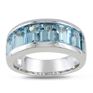 Miadora Sterling Silver Baguette-cut Blue Topaz Band Ring