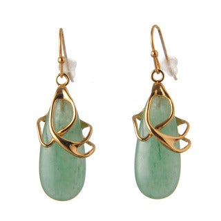 De Buman 14k Yellow Goldplated or 14k Rose Goldplated Aventurine Earrings