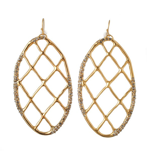 De Buman 18k Yellow Goldplated or 18k Rose Goldplated Transparent Black Czech & Crystal Hoop Earrings