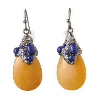 De Buman Black Rhodium Plated Yellow Jade & Created Lapis or 18k Rose Goldplated Yellow Jade & Crystal Earrings