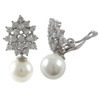 Sterling Silver Cubic Zirconia Cluster with 10 mm Shell Pearl Drop Clip-on Earrings