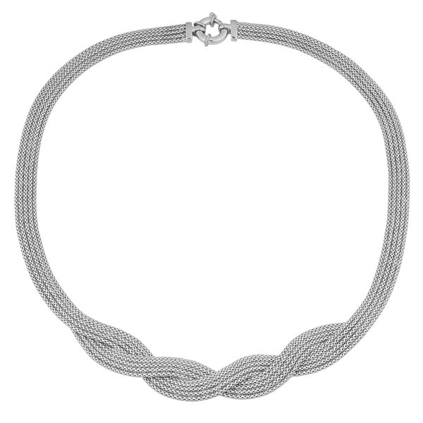 Fremada Sterling Silver Braided Popcorn Chain Necklace