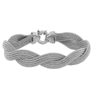 Fremada Sterling Silver 5-row Braided Popcorn Chain Bracelet
