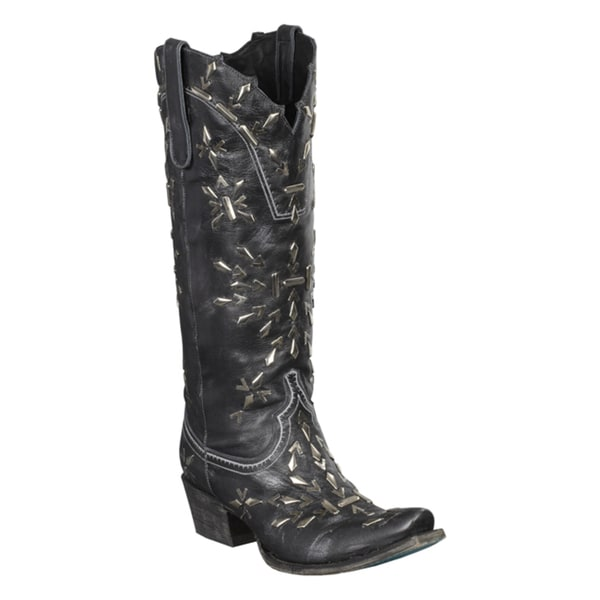 Lane Boots Women's 'Snowflake' Black Leather Studded Cowboy Boots