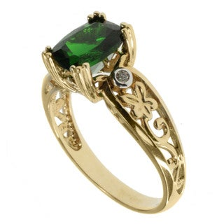Michael Valitutti 14k Gold Siberian Chrome Diopside And Diamond Ring