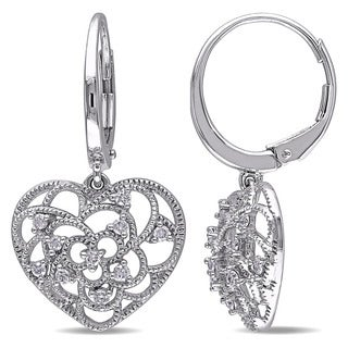 Miadora 10k White Gold 1/4ct TDW Diamond Heart Earrings (G-H, I2-I3)