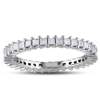 Miadora 14k White Gold 1ct TDW Princess Diamond Eternity Ring (G-H, I1-I2)