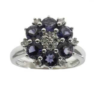 Michael Valitutti 14k White Gold Iolite and Diamond Ring