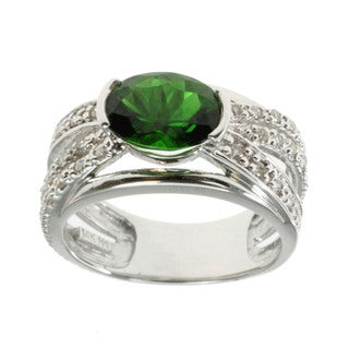 M.V. Jewels 14k Gold Chrome Diopside and Diamond Ring