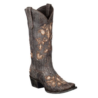 Lane Boots Women's 'Cabernet' Brown/ Tan Inlaid Leather Cowboy Boots