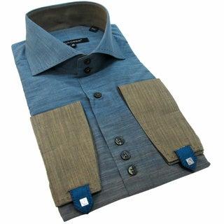 Bogosse Men's Long Sleeve Ombre Button Down Shirt