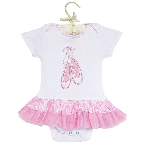 AnnLoren Baby Girls' Pink Damask Ballet Cotton Infant Bodysuit