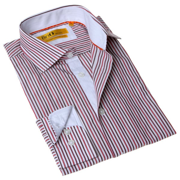 BriO Milano Men's Striped Button Down Dress Shirt