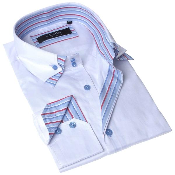 Coogi Luxe Men's White Button Down Dress Shirt