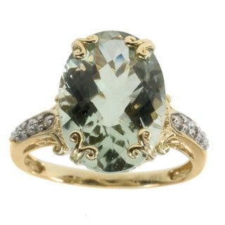 Michael Valitutti Green Amethyst Accented by Diamonds