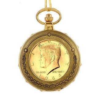 American Coin Treasures Men's 13230 Goldplated JFK 1964 First Year of Issue Half Dollar Train Pocket Watch