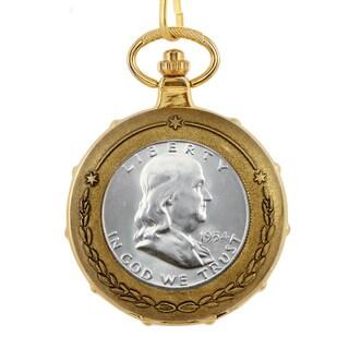 American Coin Treasures Silver Franklin Half Dollar Goldtone Skeleton Pocket Watch