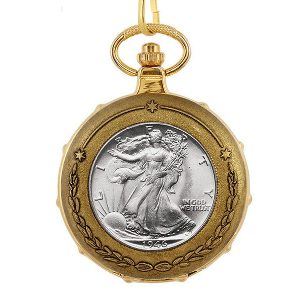 American Coin Treasures Silver Walking Liberty Half Dollar Goldtone Train Pocket Watch 14609591