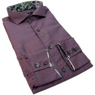 Bogosse Men's Long Sleeve Purple Button Down Shirt