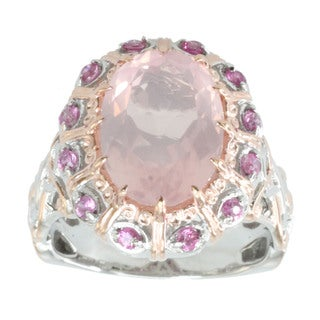 Michael Valitutti Palladium Silver Rose Quartz And Sapphire Ring