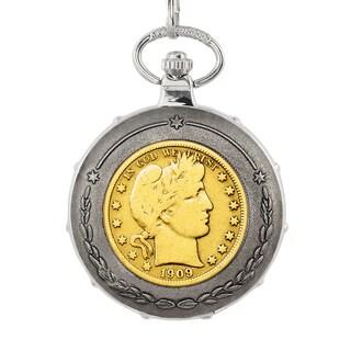 American Coin Treasures Gold-Plated Silver Barber Half Dollar Silvertone Train Pocket Watch