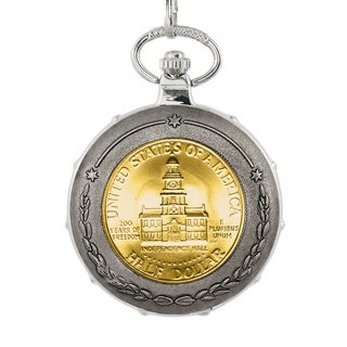 American Coin Treasures Gold-layered JFK Bicentennial Half-dollar Silvertone Train Pocket Watch