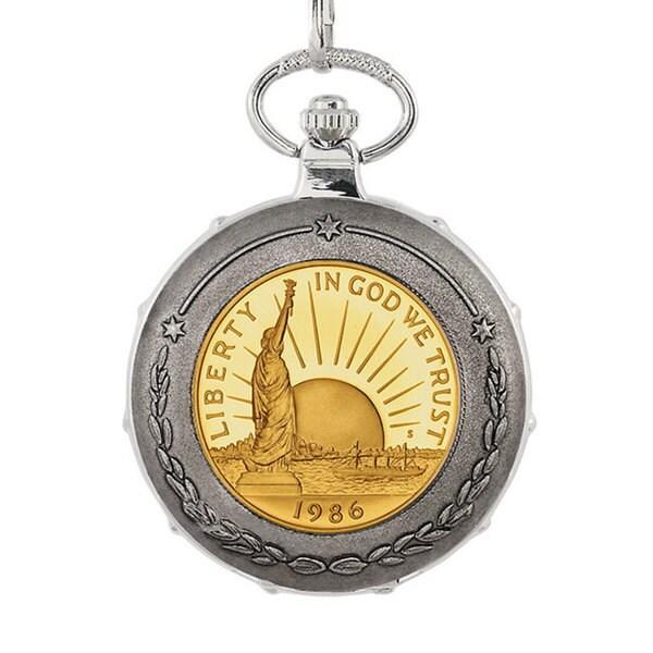 American Coin Treasures Gold-Plated Statue of Liberty Commemorative Half Dollar Silvertone Train Po 14609655