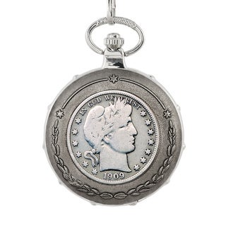 American Coin Treasures Silver Barber Half Dollar Silvertone Train Pocket Watch