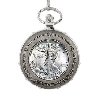 American Coin Treasures Silver Walking Liberty Half Dollar Silvertone Train Pocket Watch
