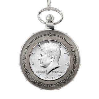 American Coin Treasures JFK Half Dollar Silvertone Train Pocket Watch