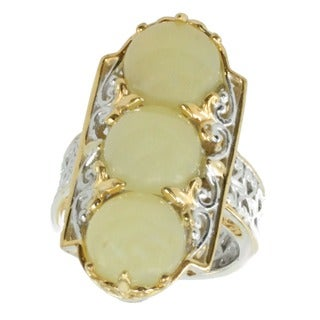 Michael Valitutti Palladium Silver Yellow Opal Ring