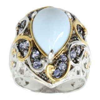 Michael Valitutti Palladium SIlver Blue Opal And Iolite Ring