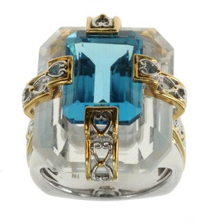 Michael Valitutti Sky Blue Topaz and Quartz Ring